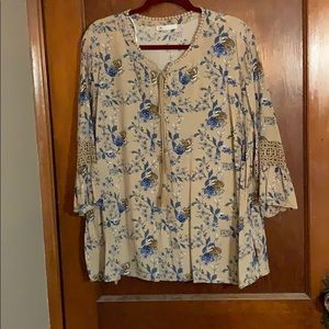 Tan floral blouse